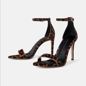 Zara Leopard Print Cowhide Ankle Strap Heels 37
